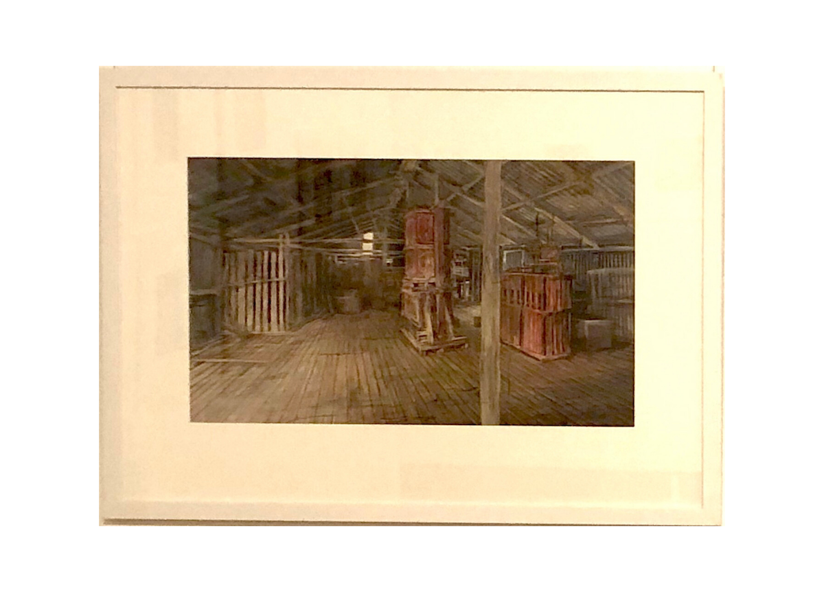 Watercolour painting by Christine Porter showing, in its frame, the interior of a shearing shed with an old earrego press and a new red electric press