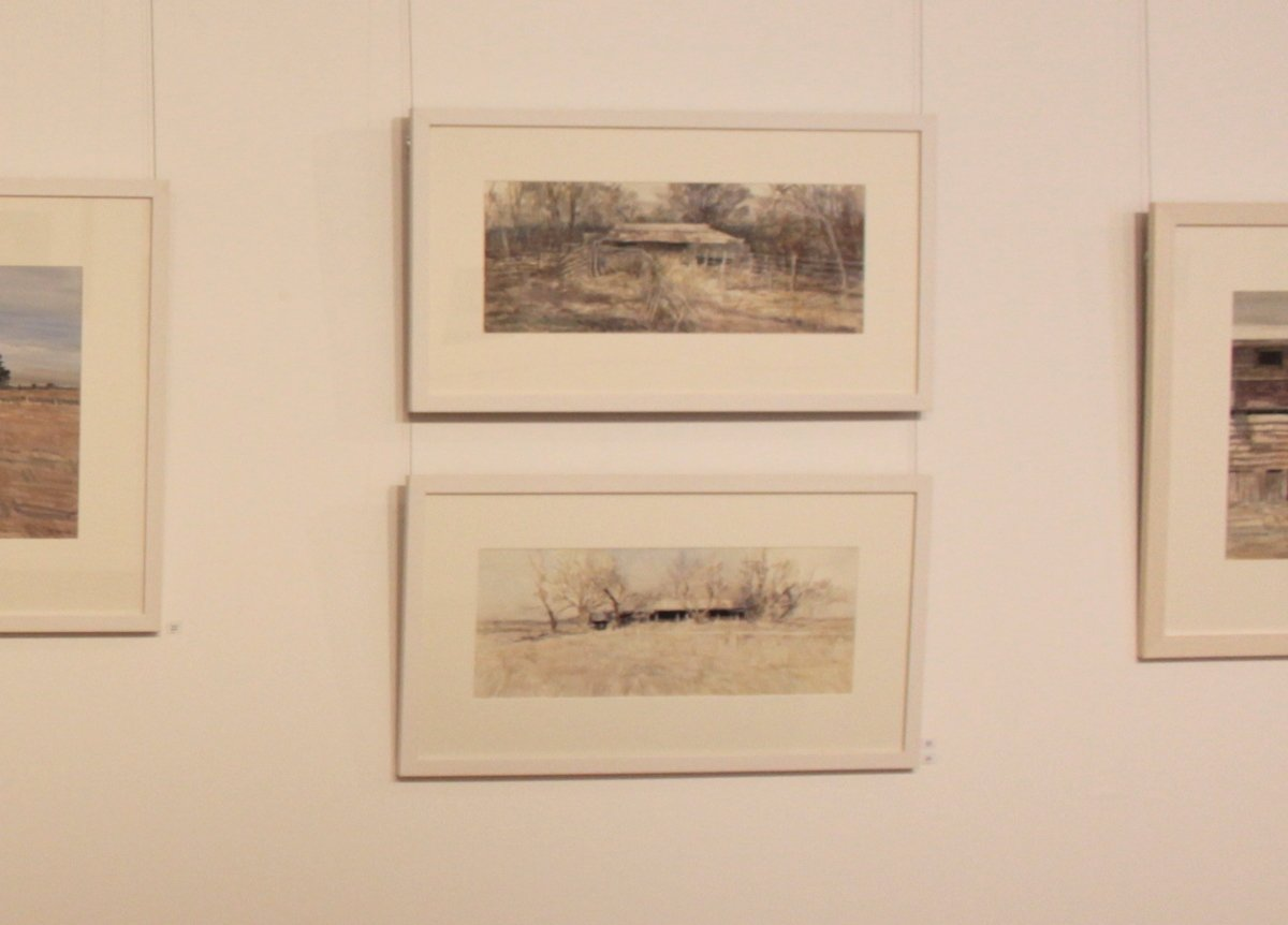 Photo of Christine Porter's exhibition at the Gympie Regional Gallery in March2020, showing a large painting of two shearing shed exteriors, framed hanging on the wall