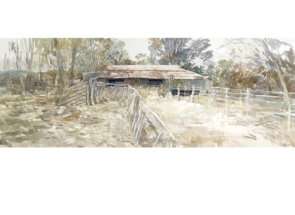 "Watercolour painting by Christine Porter of the shearing shed at ""Bundanoon"" near Texas. A corrugated iron roof, some sheep yards, in the bush."