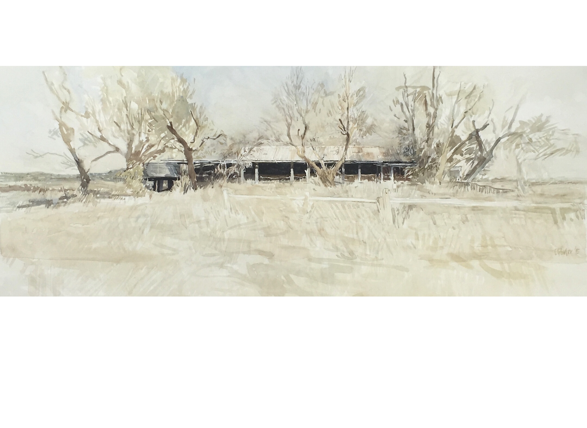 "Watercolour painting by Christine Porter of the shearing shed at ""Newstead"" near Inverell: Showing the old trees around the dark interior visible at the top of the hill on a hot day."