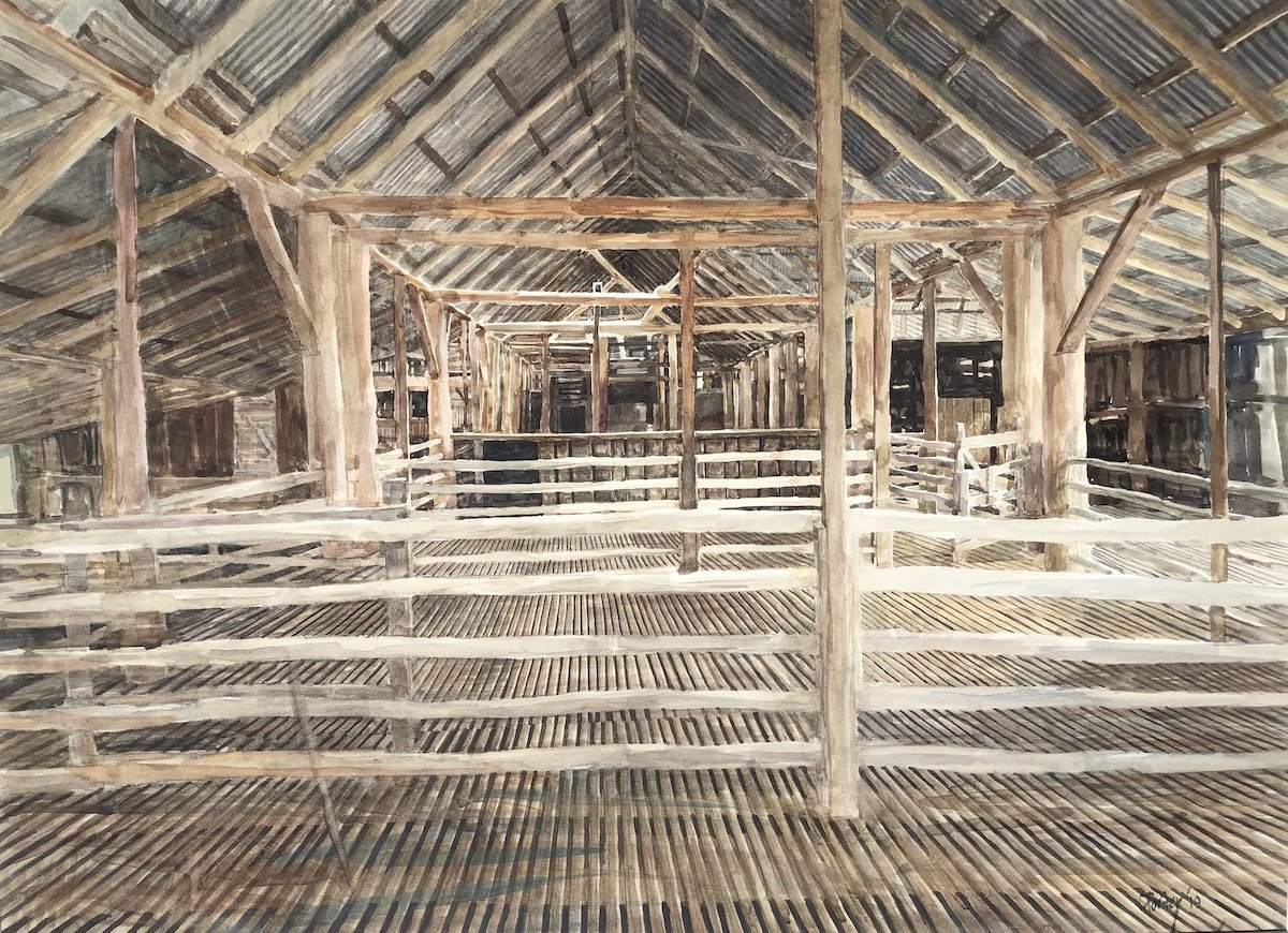 "Watercolour painting by Christine Porter of the shearing shed at ""Boorolong"" near Armidale showing the pens at the western end of the shed interior. Lots of timber posts and beams"