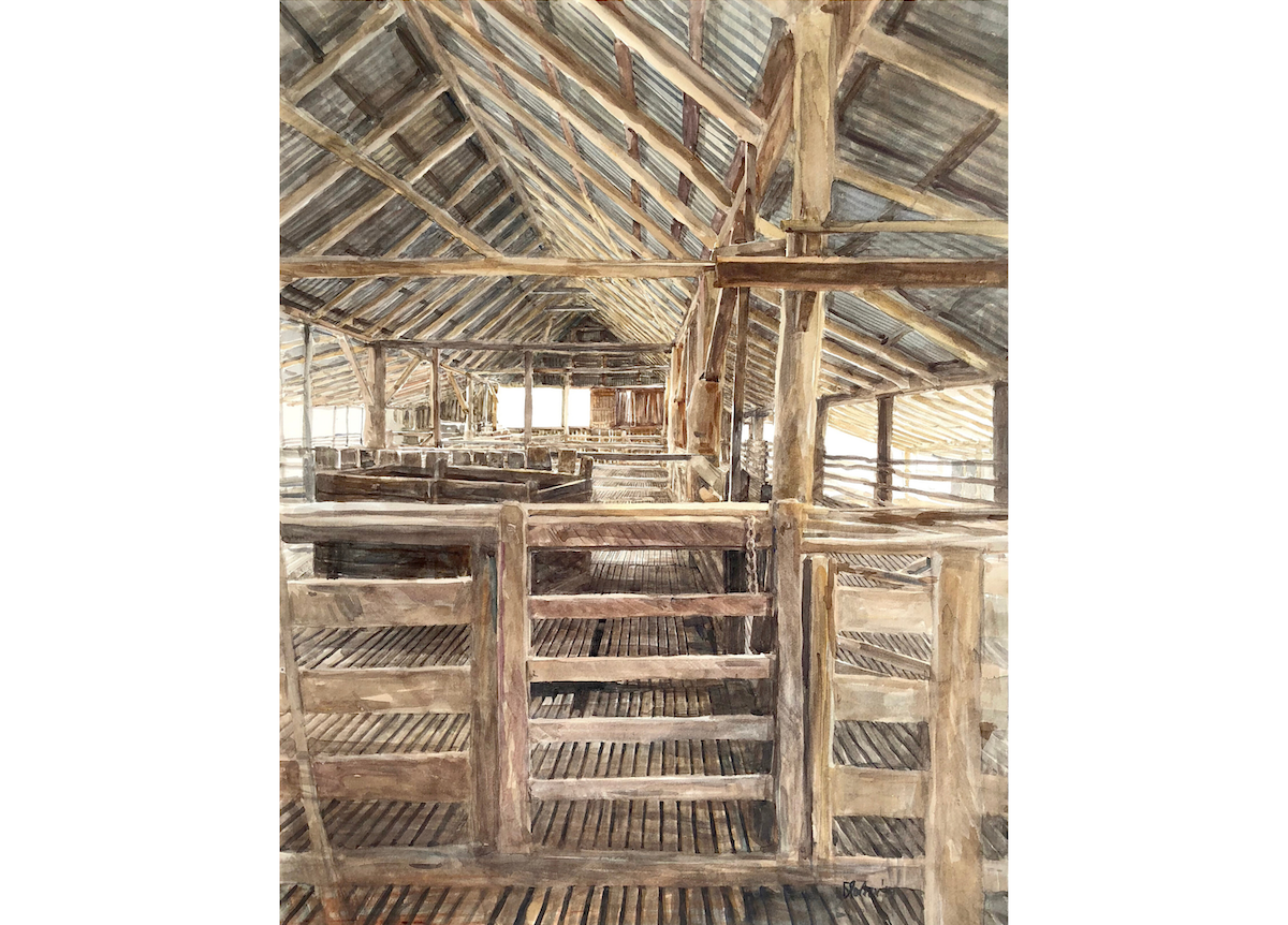"Watercolour painting by Christine Porter of the shearing shed at ""Boorolong"" near Armidale showing the interior of the shed, looking west, over a single gate along the edge of the main section of the shed. Lots of posts and beams."