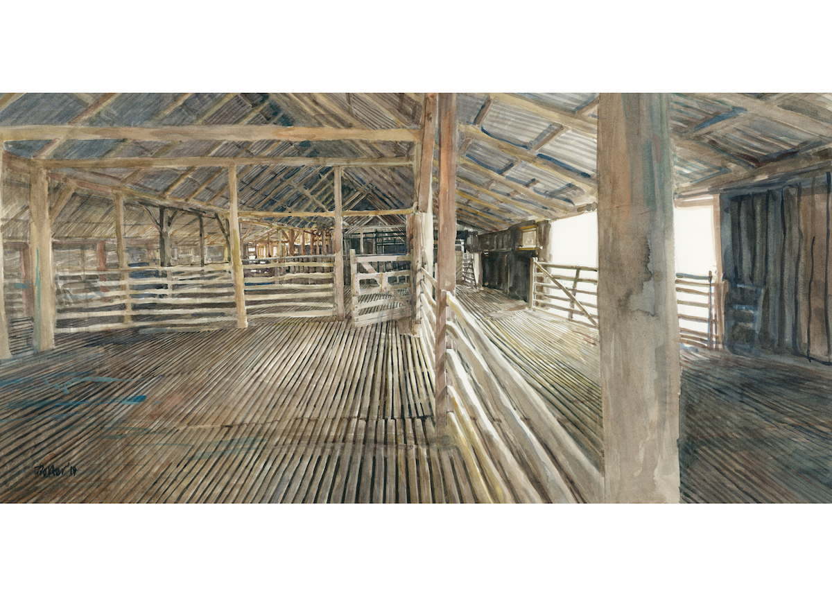 "Watercolour painting by Christine Porter of the shearing shed at ""Boorolong"" near Armidale showing the interior of the shed with the focus being a small gate in the main pen area. In this painting we see the slotted floor, timber beams going off into the distance"