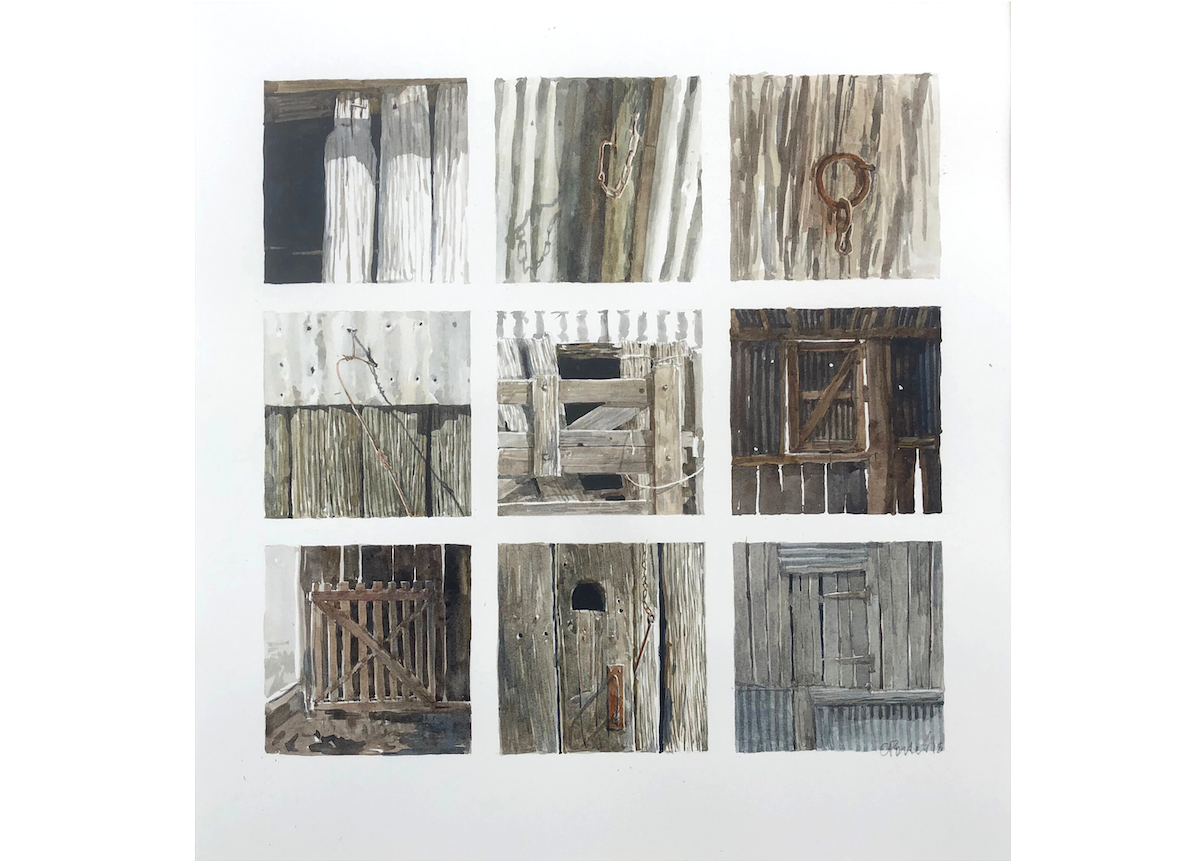 A watercolour painting by Christine Porter of a collection fo 9 small paintings, presented in a grid, of various doors, windows and openings in timber and corruguated iron shed.