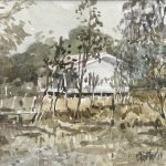 Watercolour painting by Christine Porter showing a small wooden building through some scrubby trees