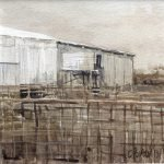 Watercolour painting by Christine Porter showing a metal tank next to a corrugated iron shed. There are yards in front. and a dusty sky