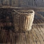 Watercolour painting by Christine Porter showing a woolbasket in strong shadow.