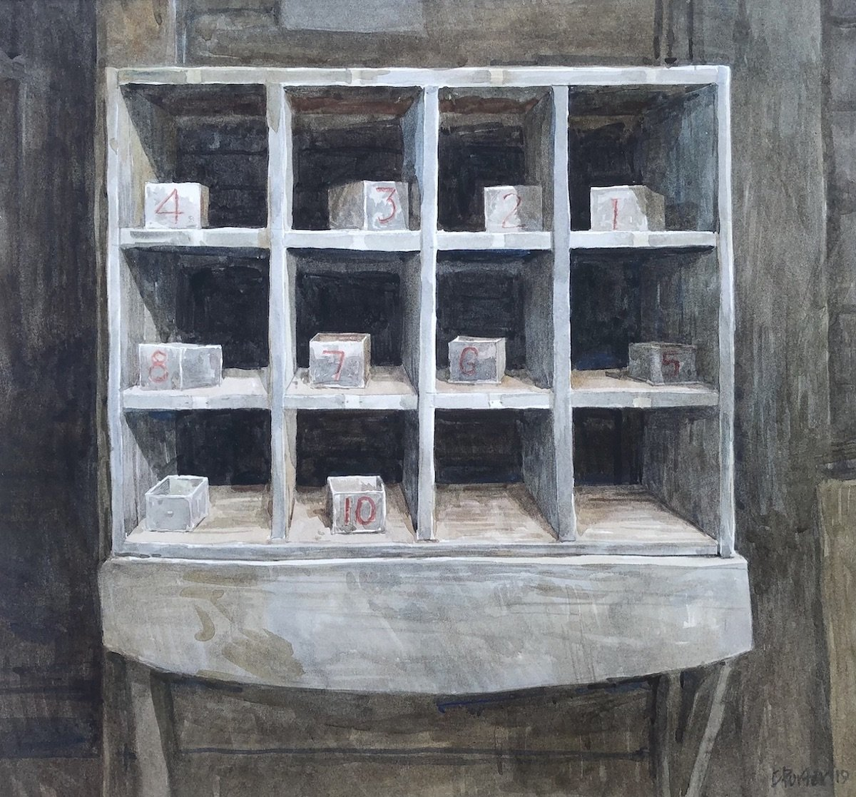 "Watercolour painting by Christine Porter showing the built in box cupboard known in shearing sheds as the ""Expert's boxes"" . A grid of boxes going through to the other side of the wall, 4x3 with small numbered tins in them. blue with red numbering"