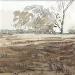 Watercolour painting by Christine Porter showing a horizon just above half way up, with a pepper tree and a dead eucalypt on the horizon.