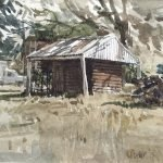 Watercolour painting by Christine Porter showing a small brown timber building with an overhanging roof. Hehind it is a fuel tank and hehind that a white ute.