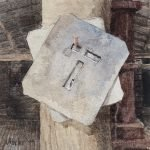 Watercolour painting by Christine Porter showing a single tin T woolstencil hanging with another stencil on a nail on a post. ehind it is a red Warrego press, but you'd only know that's what it was if you'd seen the rest of the paintings in the series.