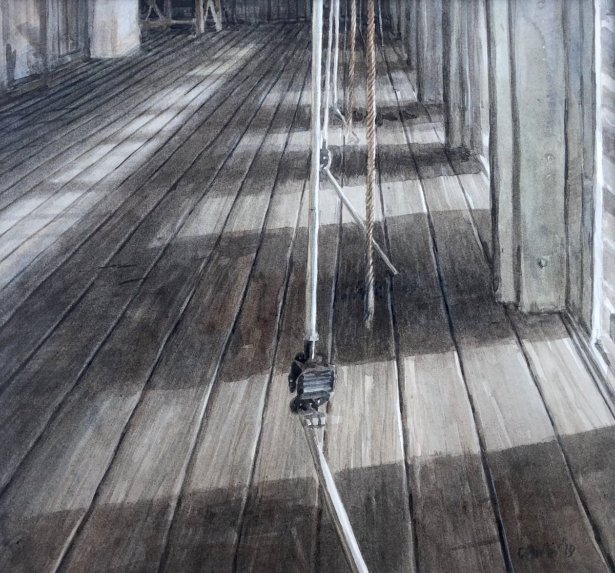 Watercolour painting by Christine Porter showing a shearing board in a big shearing shed, with sunlight from the doorways at each stand, and the downtube and ropes of the shearing tools.