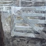 Watercolour painting by Christine Porter showing a gate. This is a detail of the prior painting, showing better colour
