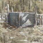 Watercolour painting by Christine Porter showing a corrugated iron tank, probably a dip tank, being supported by 5 sapling posts. in a bushy setting.