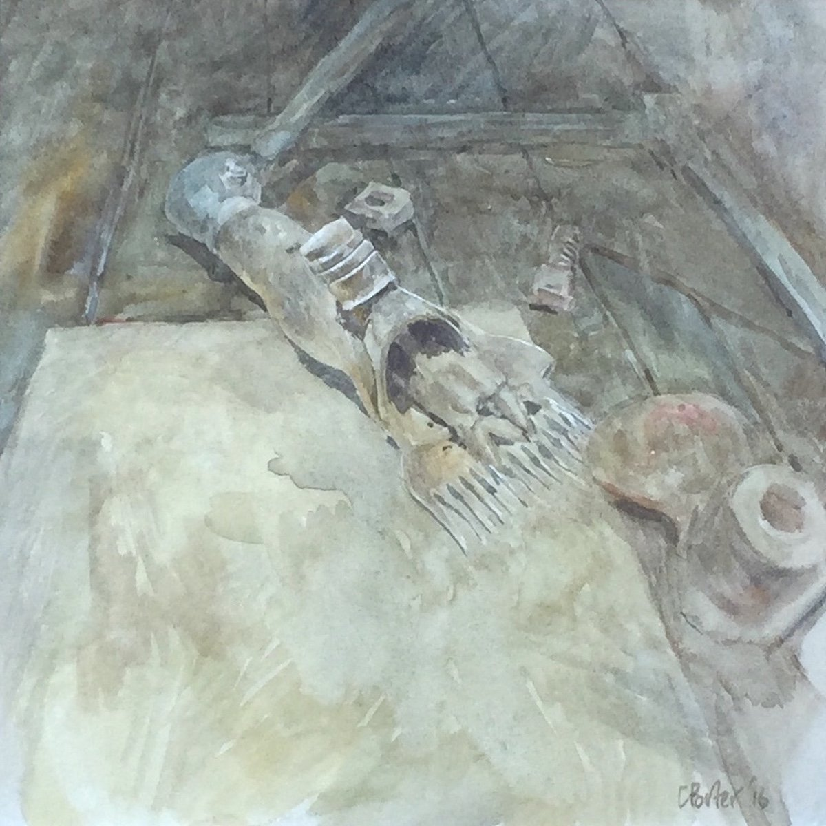 Watercolour painting by Christine Porter showing a shearer's handpiece sitting on a piece of yellow paper. other bits of machinery are lying there too.
