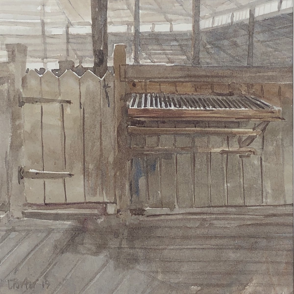 Watercolour painting by Christine Porter showing a small gate and a small wooltable. the gate has patterened tops the wooltable is connected to the low wall beside the gate. Behind it the clerestory of the pen area is visible.