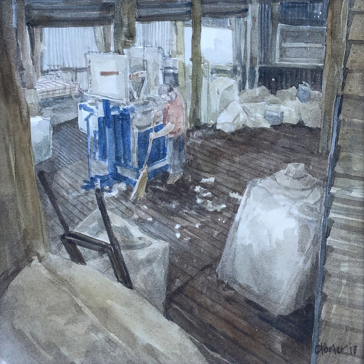 Watercolour painting by Christine Porter showing a man sweeping up bits of wool from the floor near an electric wool press. near =him is a full woolbake and other bits and pieces in the woolroom.