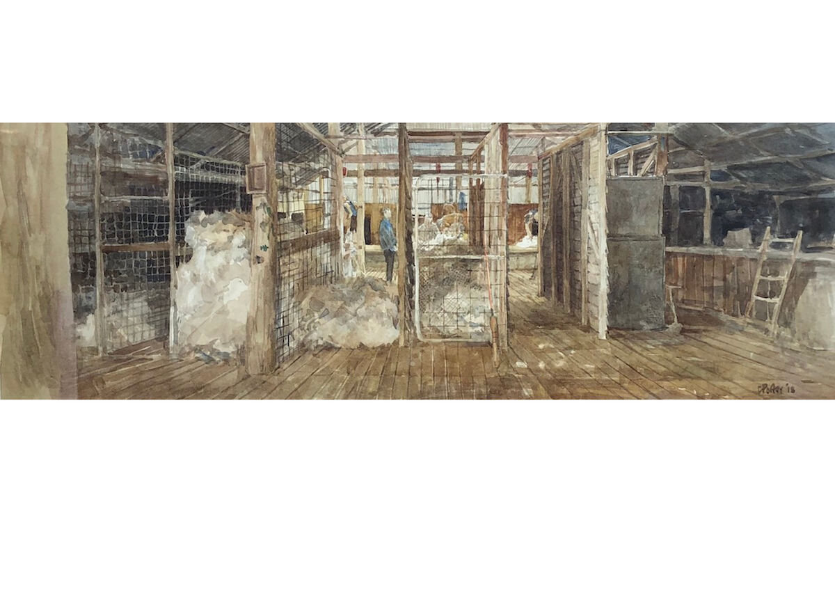 "A watercolour painting by Christine Porter of the shearing shed at ""Valley View"" in the middle of shearing. Showing the view from the woolroom looking through the bins, some half full of wool, to the classing table and board."