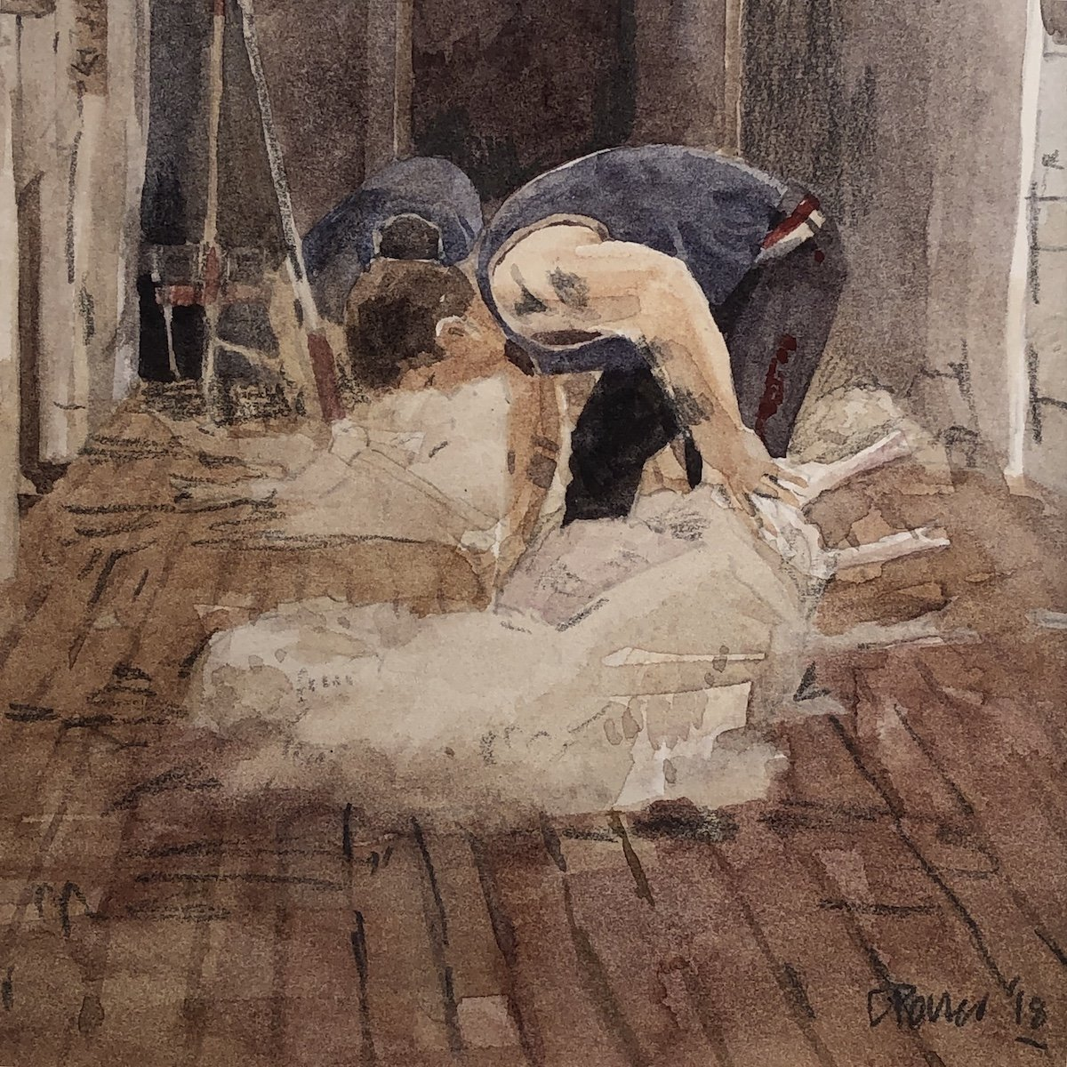 Watercolour painting by Christine Porter showing a single shearer bent over a sheep, shearing.