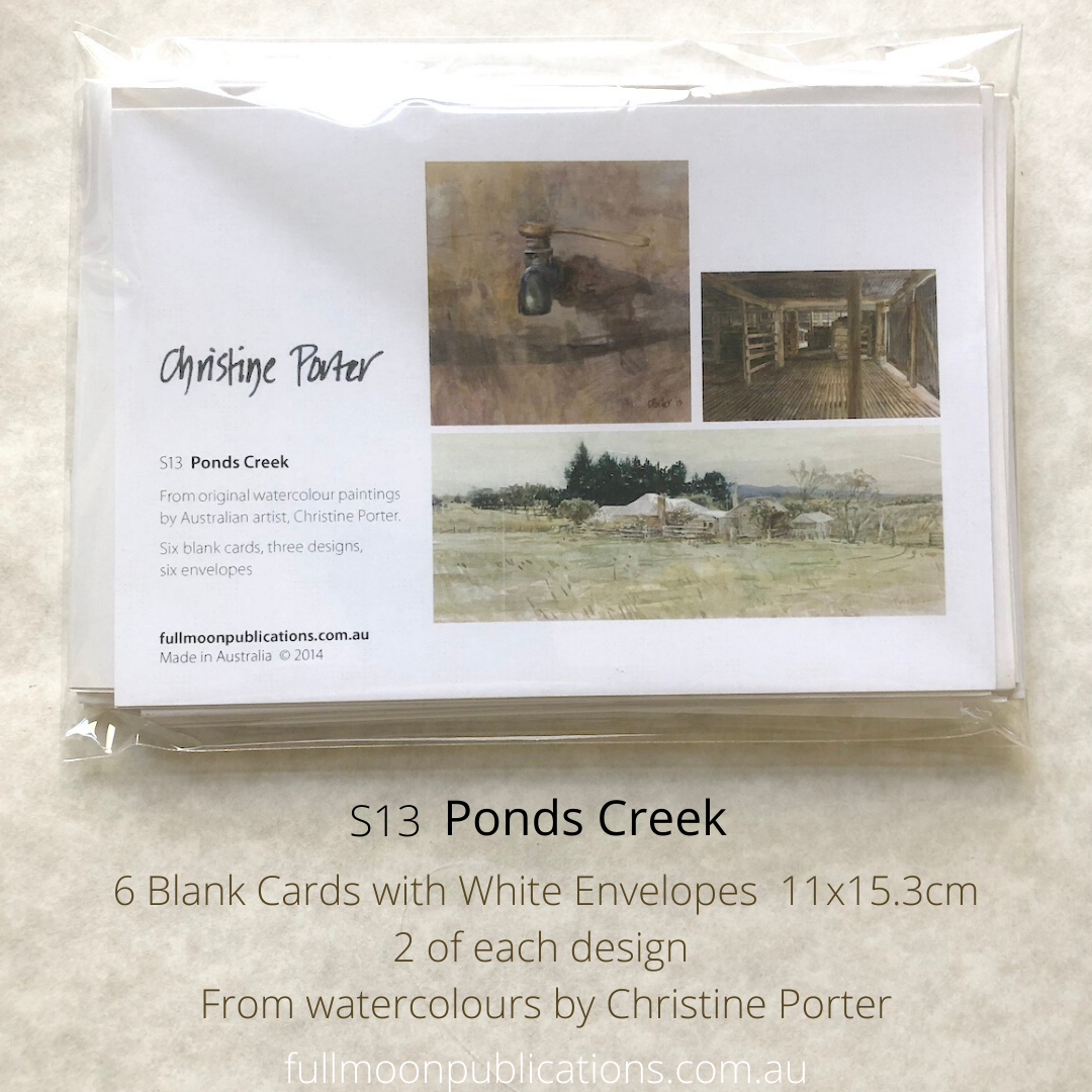 Photo of a set of greeting cards in a plastic packet. showing the descriptor card with the three images that are in the set, as well as the text describing it.