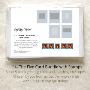 A photo of a set of cards. with the covering postcard showing 5 grey boxes and below that a row of 5 cartoon stamps.