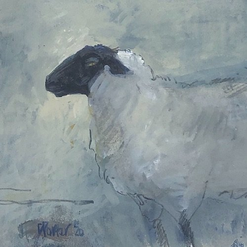 Watercolour painting by Christine Porter showing a Suffolk sheep, sideview. But facing the west. More body colour in this painting gives it a heavier look thatn the others. It also looks a bit more scary. It's the yellow eyes.