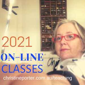 photo of Christine reaching up to turn a camera selfie off. Included are the words 2021 online classes. and webaddress www.christineporter.com.au/teaching/